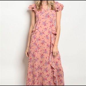 Pink Floral Sleeve Layered Ruffle Maxi Dress